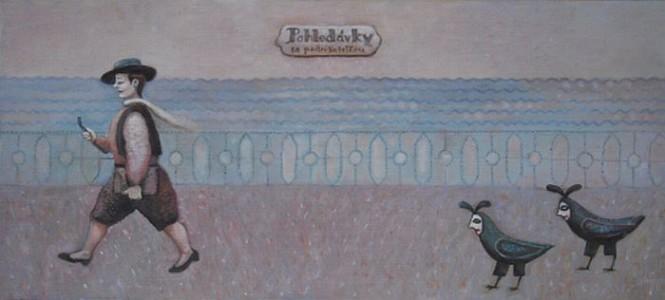 """4.""""Pohledávky za podnikatelkou"""", olej na sololitu, 2006"""